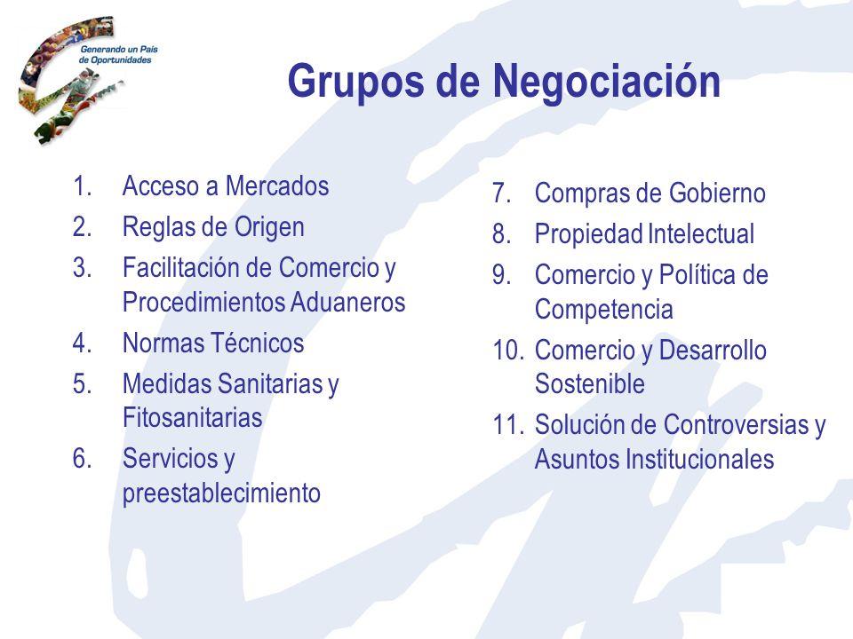 Grupos de Negociación 1.Acceso a Mercados 2.Reglas de Origen 3.Facilitación de Comercio y Procedimientos Aduaneros 4.Normas Técnicos 5.Medidas Sanitar