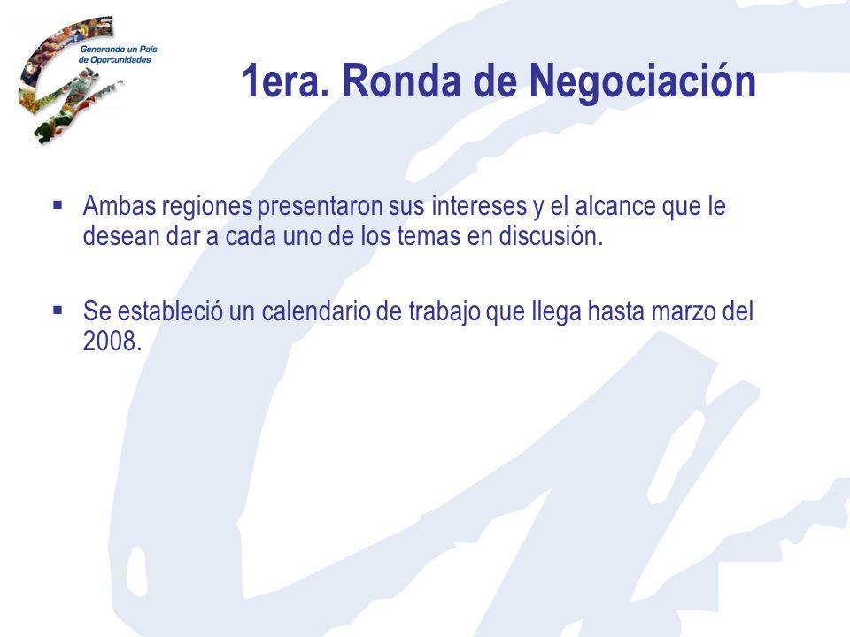 1era. Ronda de Negociación Ambas regiones presentaron sus intereses y el alcance que le desean dar a cada uno de los temas en discusión. Se estableció