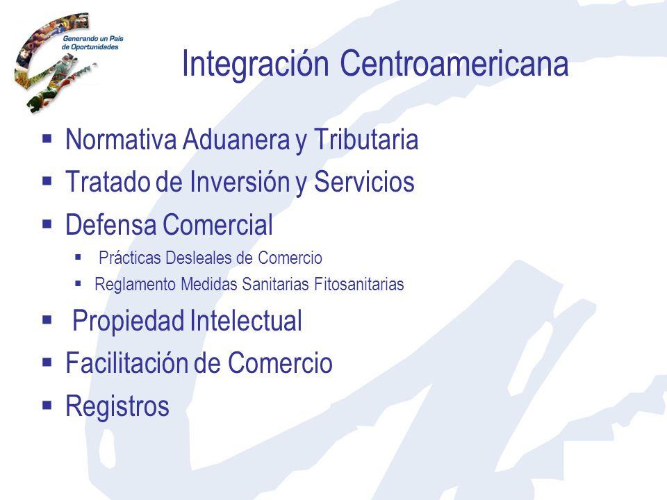 Integración Centroamericana Normativa Aduanera y Tributaria Tratado de Inversión y Servicios Defensa Comercial Prácticas Desleales de Comercio Reglame