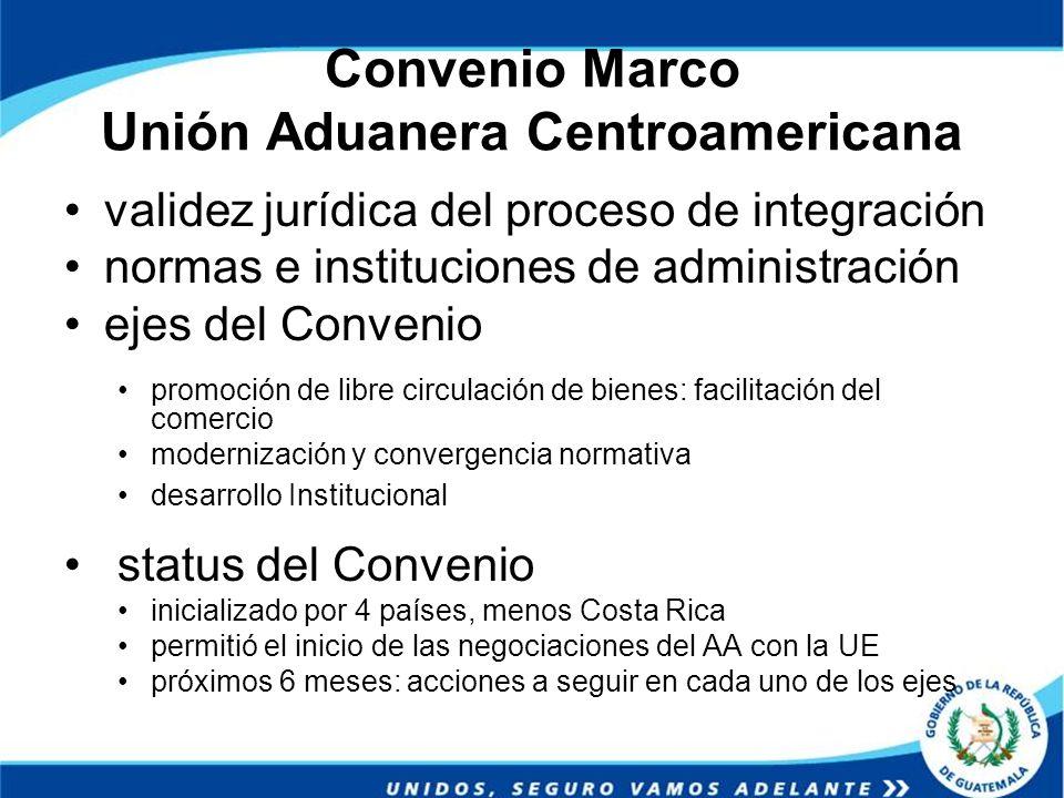 Convenio Marco Unión Aduanera Centroamericana validez jurídica del proceso de integración normas e instituciones de administración ejes del Convenio p
