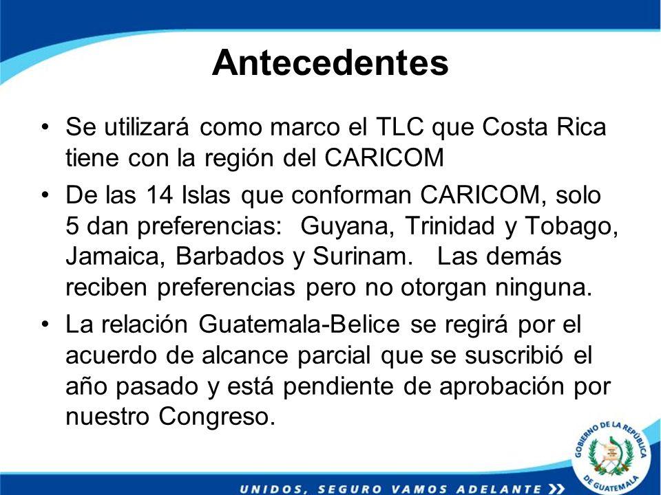 Antecedentes Se utilizará como marco el TLC que Costa Rica tiene con la región del CARICOM De las 14 Islas que conforman CARICOM, solo 5 dan preferenc