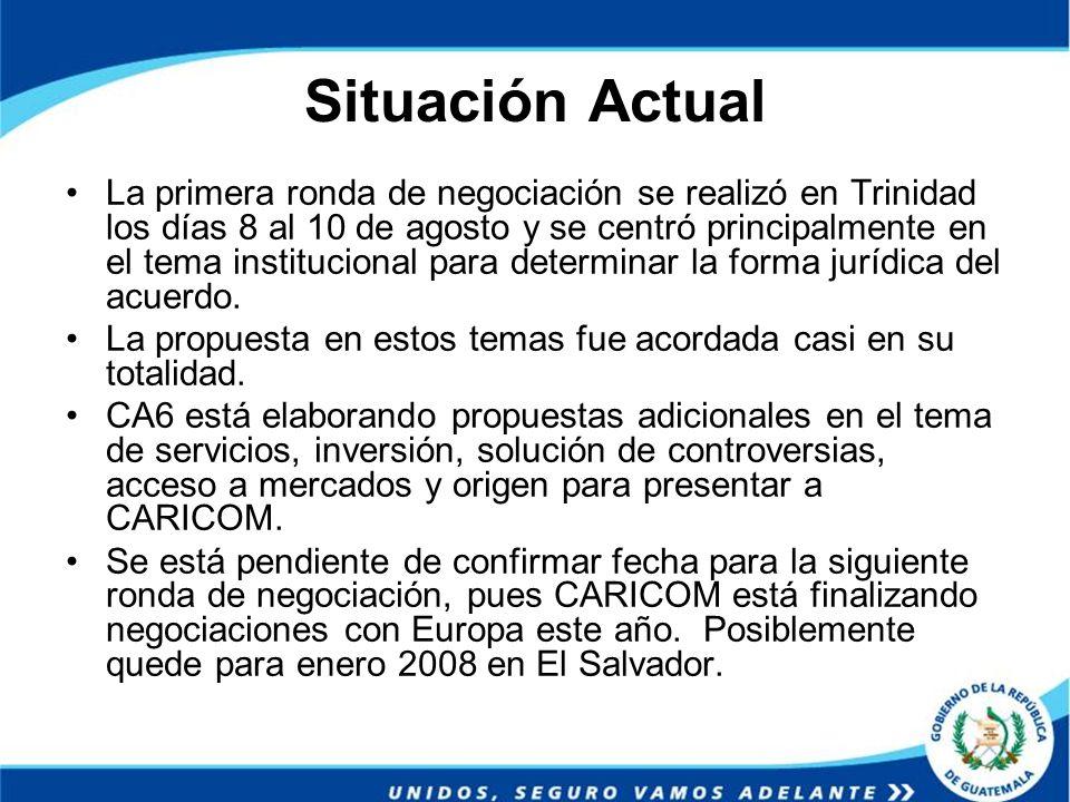 Situación Actual La primera ronda de negociación se realizó en Trinidad los días 8 al 10 de agosto y se centró principalmente en el tema institucional