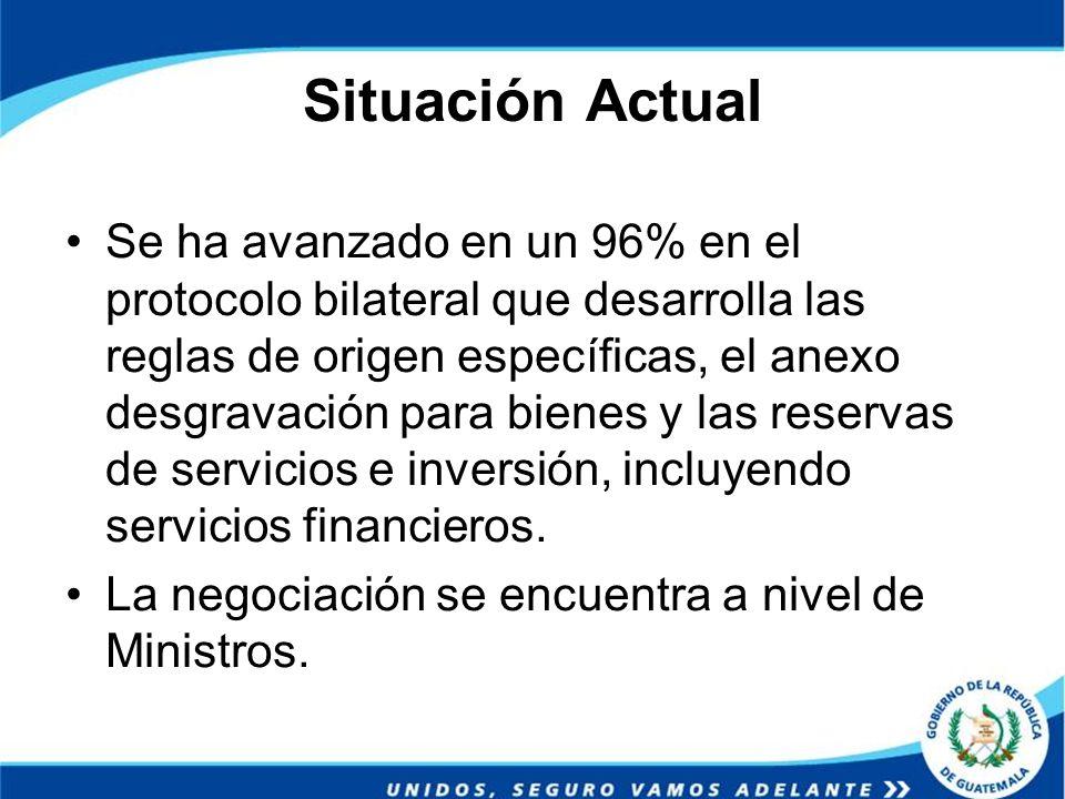 Situación Actual Se ha avanzado en un 96% en el protocolo bilateral que desarrolla las reglas de origen específicas, el anexo desgravación para bienes