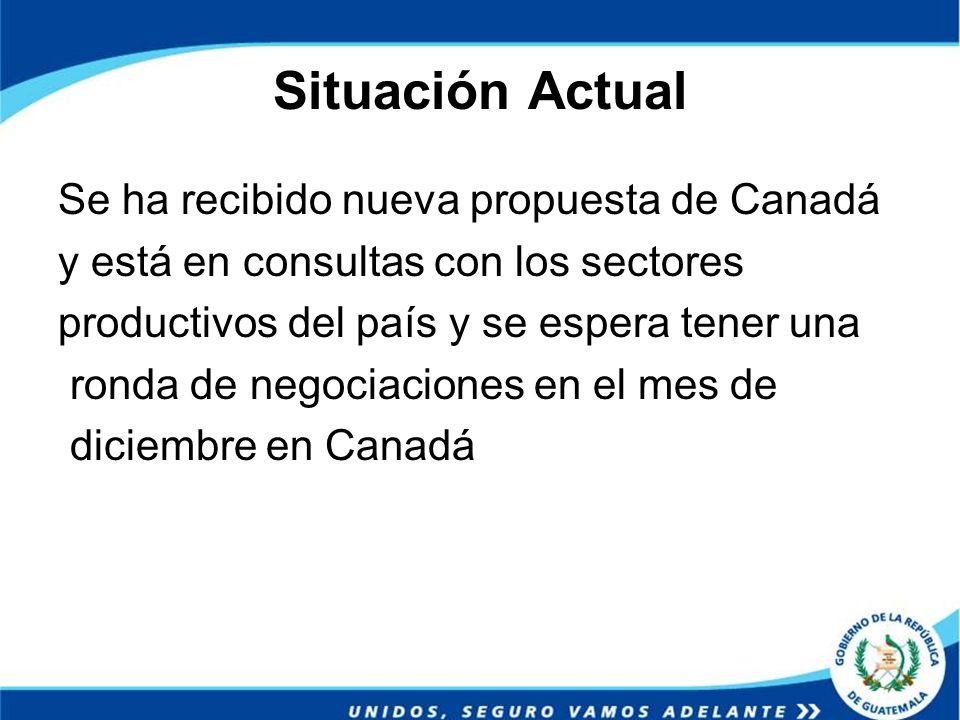 Situación Actual Se ha recibido nueva propuesta de Canadá y está en consultas con los sectores productivos del país y se espera tener una ronda de neg