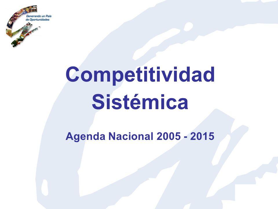 Competitividad 20032004200520062007 Posición 89 (102 países) Posición 80 (104 países) Posición 95 (117 países) Posición 75 (125 países) Posición 87 (131 países) Índice de Competitividad Global Fuente: Foro Económico Mundial