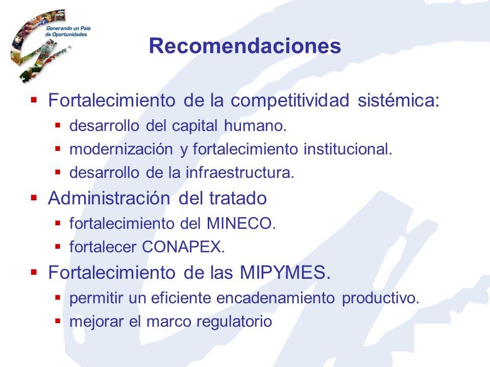 Recomendaciones Fortalecimiento de la competitividad sistémica: desarrollo del capital humano. modernización y fortalecimiento institucional. desarrol