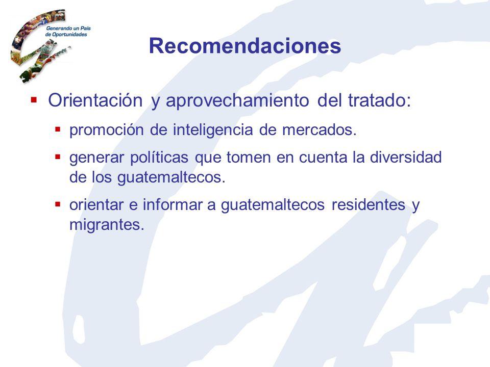 Recomendaciones Orientación y aprovechamiento del tratado: promoción de inteligencia de mercados. generar políticas que tomen en cuenta la diversidad