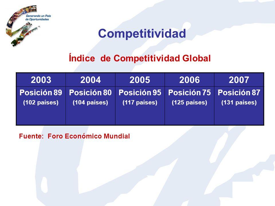 Competitividad 20032004200520062007 Posición 89 (102 países) Posición 80 (104 países) Posición 95 (117 países) Posición 75 (125 países) Posición 87 (1