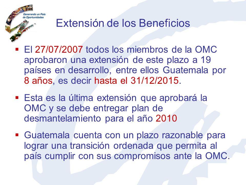 Extensión de los Beneficios El 27/07/2007 todos los miembros de la OMC aprobaron una extensión de este plazo a 19 países en desarrollo, entre ellos Gu