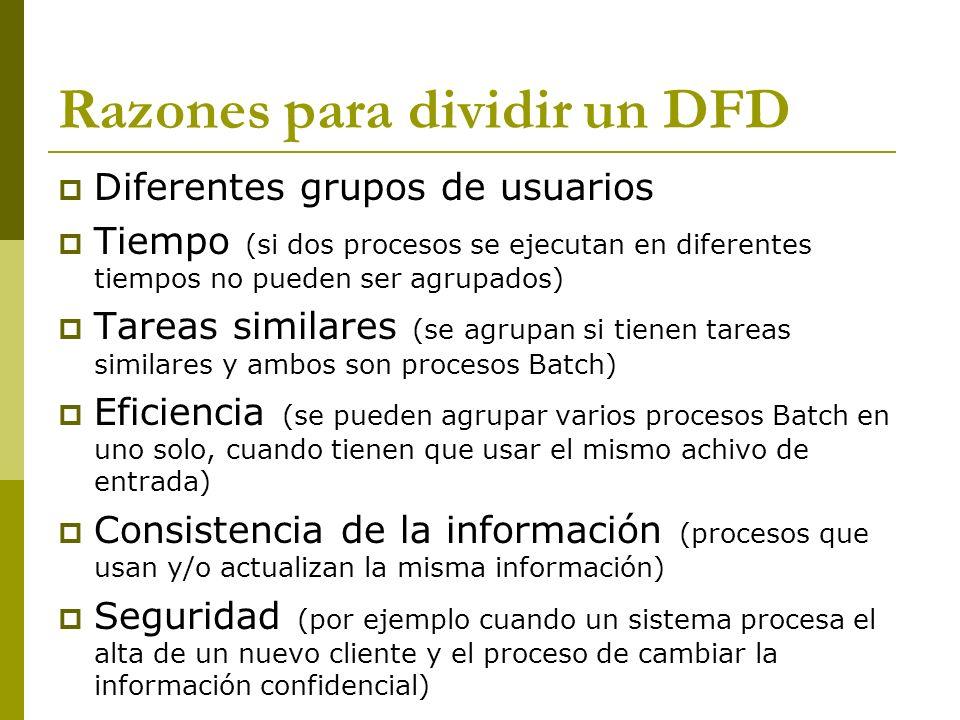 Razones para dividir un DFD Diferentes grupos de usuarios Tiempo (si dos procesos se ejecutan en diferentes tiempos no pueden ser agrupados) Tareas si
