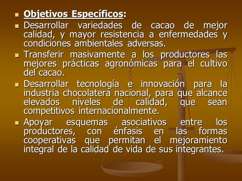 Objetivos Específicos: Objetivos Específicos: Desarrollar variedades de cacao de mejor calidad, y mayor resistencia a enfermedades y condiciones ambie