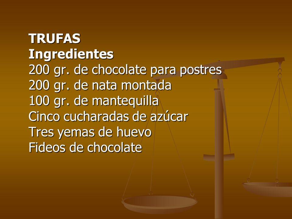 TRUFAS Ingredientes 200 gr. de chocolate para postres 200 gr. de nata montada 100 gr. de mantequilla Cinco cucharadas de azúcar Tres yemas de huevo Fi