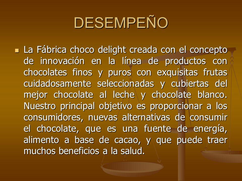 DESEMPEÑO La Fábrica choco delight creada con el concepto de innovación en la línea de productos con chocolates finos y puros con exquisitas frutas cu