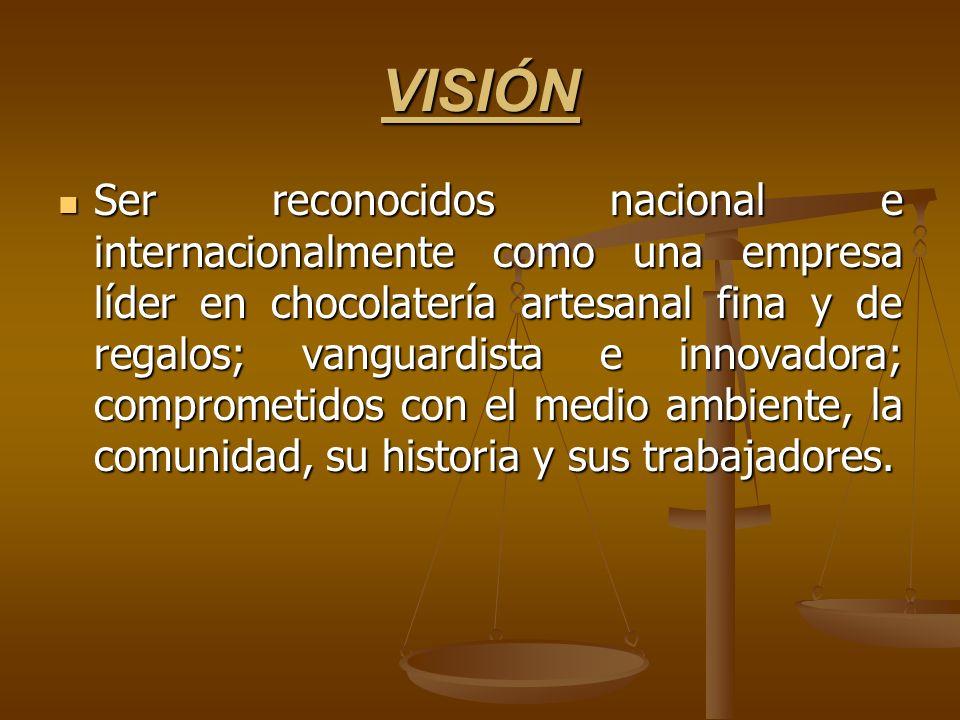 VISIÓN Ser reconocidos nacional e internacionalmente como una empresa líder en chocolatería artesanal fina y de regalos; vanguardista e innovadora; co