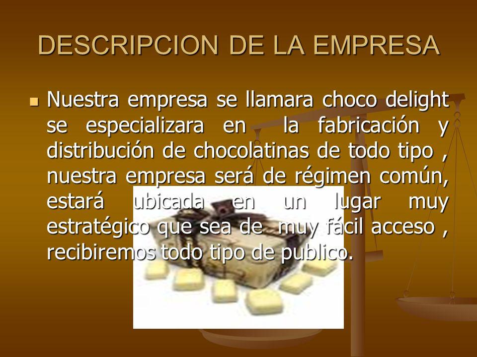 DESCRIPCION DE LA EMPRESA Nuestra empresa se llamara choco delight se especializara en la fabricación y distribución de chocolatinas de todo tipo, nue