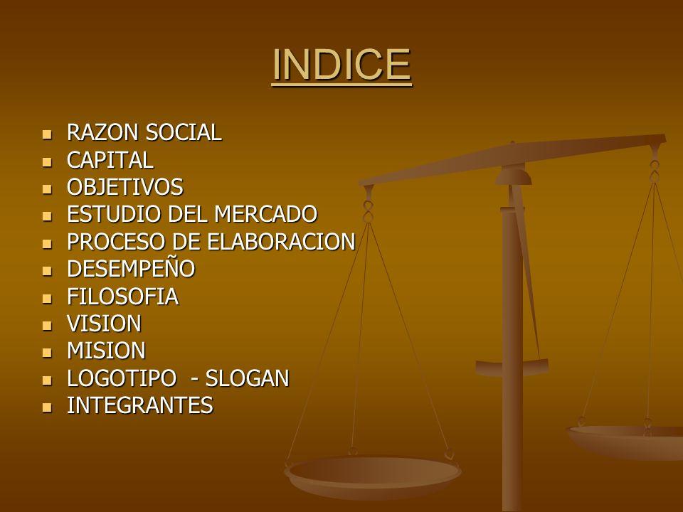 INDICE RAZON SOCIAL RAZON SOCIAL CAPITAL CAPITAL OBJETIVOS OBJETIVOS ESTUDIO DEL MERCADO ESTUDIO DEL MERCADO PROCESO DE ELABORACION PROCESO DE ELABORA