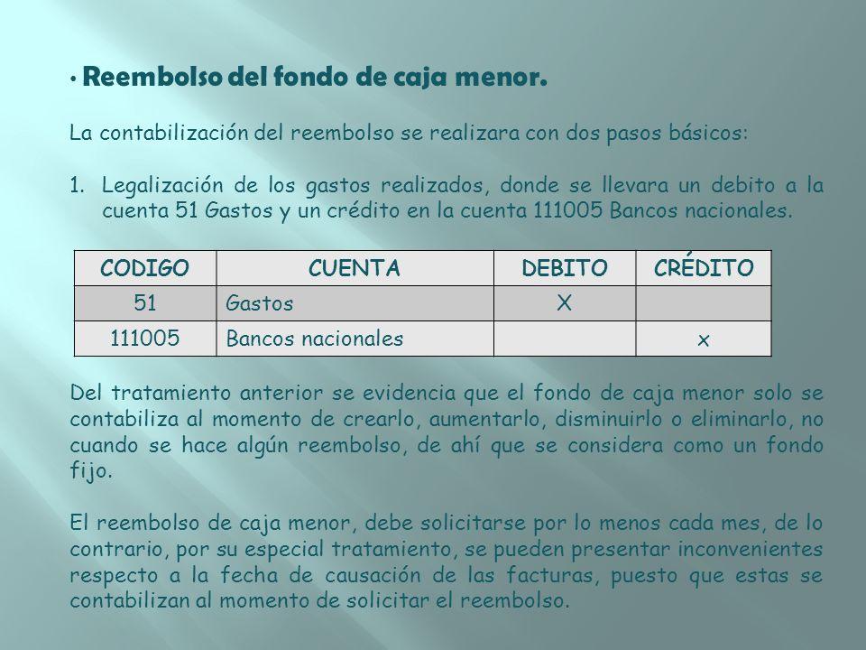 Reembolso del fondo de caja menor. La contabilización del reembolso se realizara con dos pasos básicos: 1.Legalización de los gastos realizados, donde
