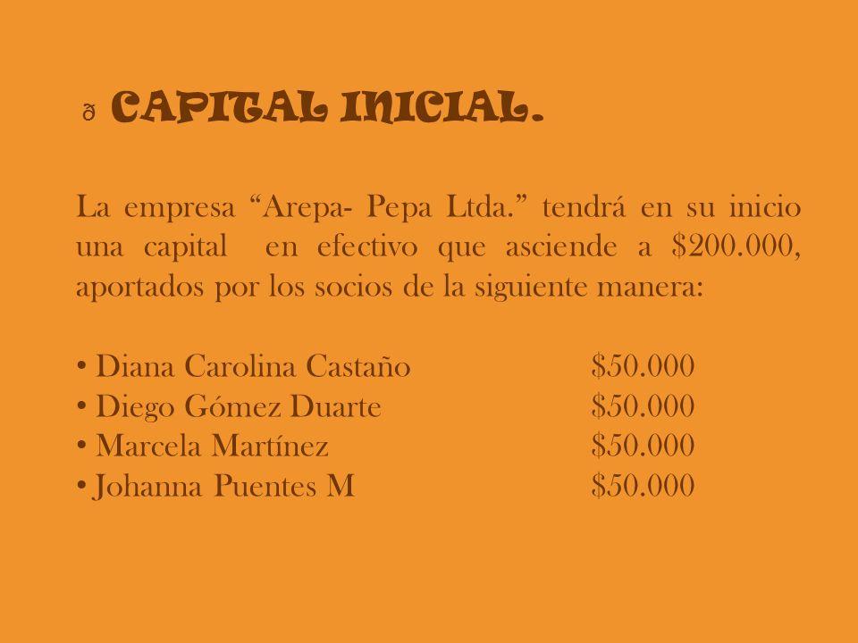 ð CAPITAL INICIAL. La empresa Arepa- Pepa Ltda. tendrá en su inicio una capital en efectivo que asciende a $200.000, aportados por los socios de la si