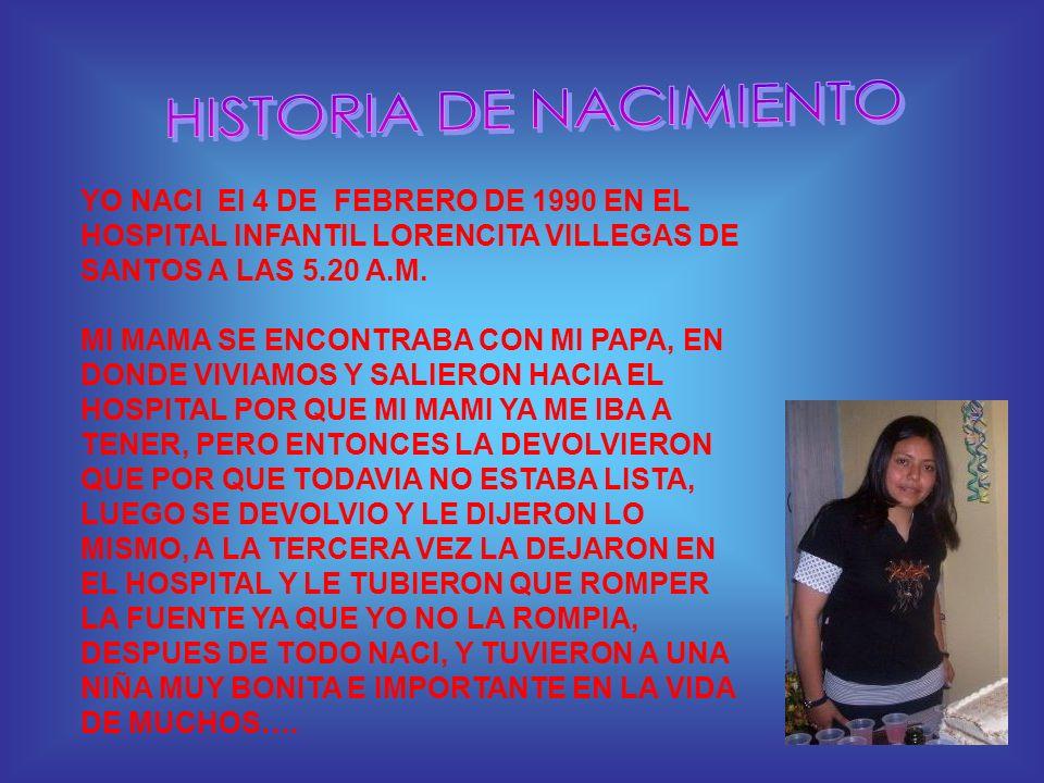 YO NACI El 4 DE FEBRERO DE 1990 EN EL HOSPITAL INFANTIL LORENCITA VILLEGAS DE SANTOS A LAS 5.20 A.M. MI MAMA SE ENCONTRABA CON MI PAPA, EN DONDE VIVIA
