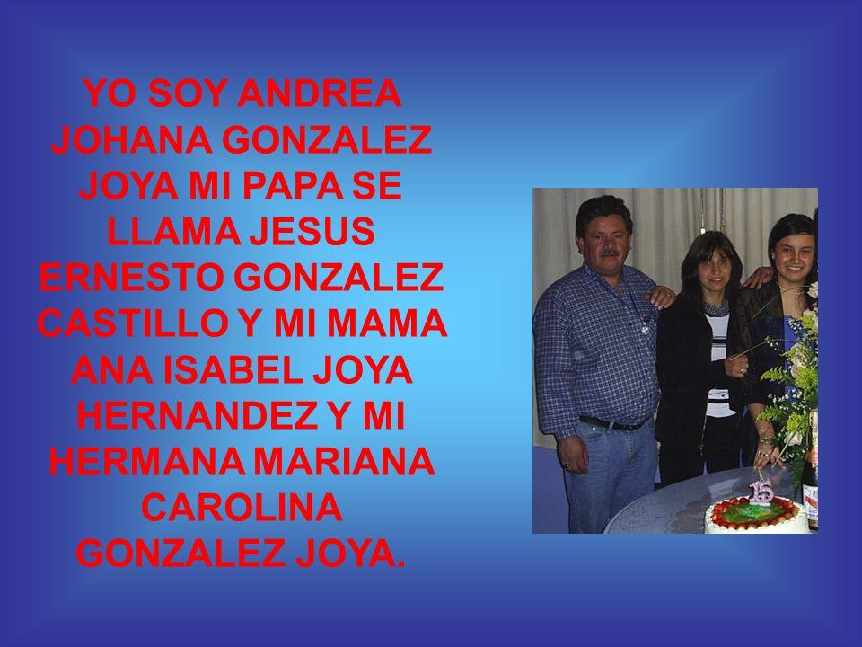 YO SOY ANDREA JOHANA GONZALEZ JOYA MI PAPA SE LLAMA JESUS ERNESTO GONZALEZ CASTILLO Y MI MAMA ANA ISABEL JOYA HERNANDEZ Y MI HERMANA MARIANA CAROLINA