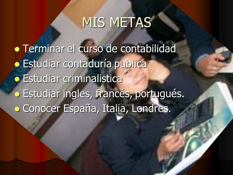 MIS METAS Terminar el curso de contabilidad Terminar el curso de contabilidad Estudiar contaduría publica Estudiar contaduría publica Estudiar crimina