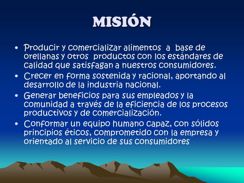 MISIÓN Producir y comercializar alimentos a base de orellanas y otros productos con los estándares de calidad que satisfagan a nuestros consumidores.