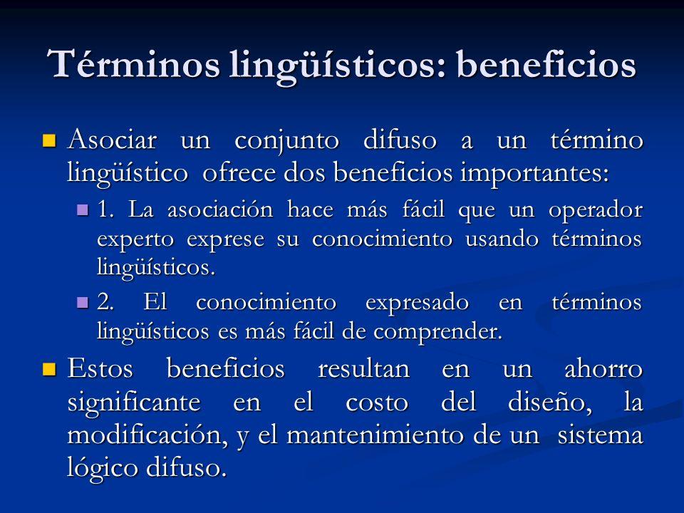 Términos lingüísticos: beneficios Asociar un conjunto difuso a un término lingüístico ofrece dos beneficios importantes: Asociar un conjunto difuso a