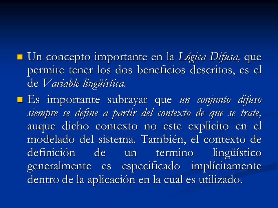 Un concepto importante en la Lógica Difusa, que permite tener los dos beneficios descritos, es el de Variable lingüística. Un concepto importante en l