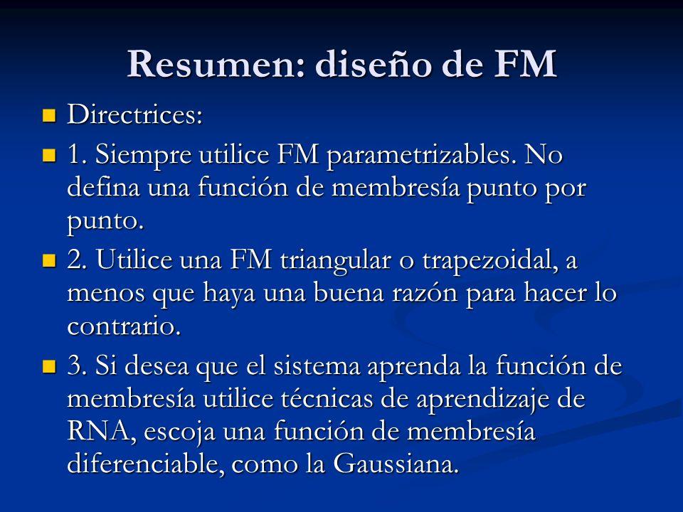 Resumen: diseño de FM Directrices: Directrices: 1. Siempre utilice FM parametrizables. No defina una función de membresía punto por punto. 1. Siempre