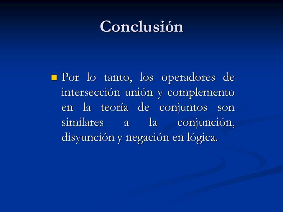 Conclusión Por lo tanto, los operadores de intersección unión y complemento en la teoría de conjuntos son similares a la conjunción, disyunción y nega