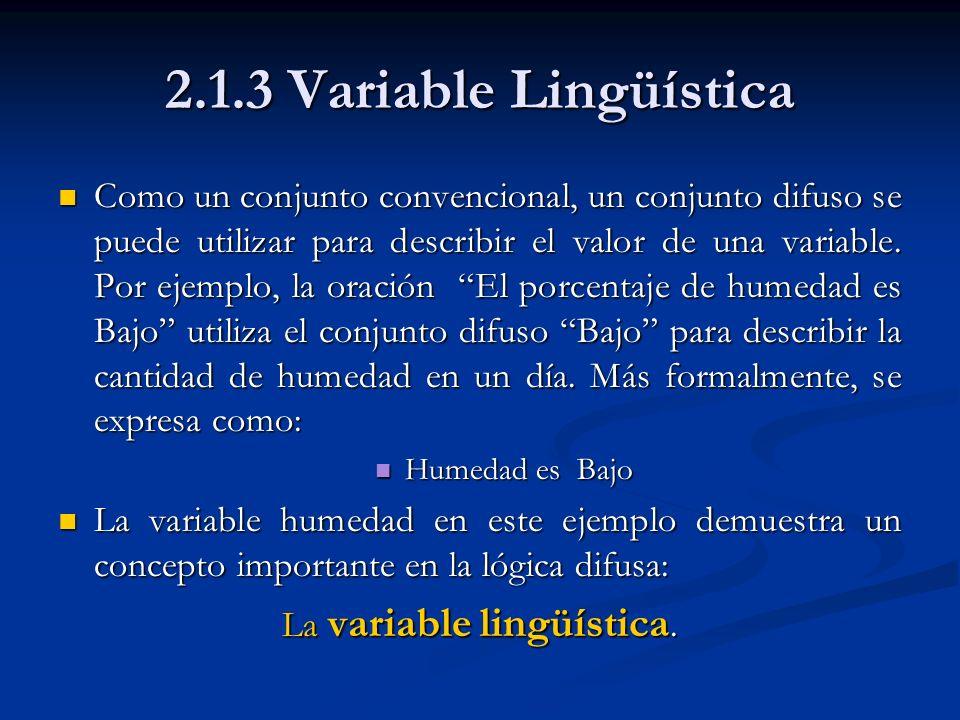 2.1.3 Variable Lingüística Como un conjunto convencional, un conjunto difuso se puede utilizar para describir el valor de una variable. Por ejemplo, l
