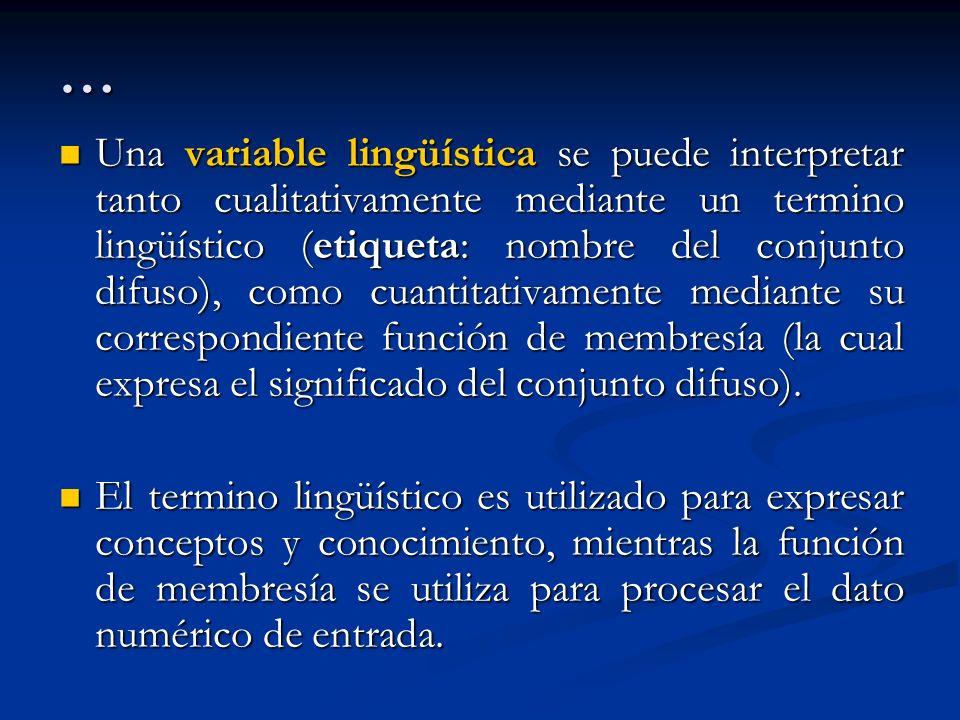 … Una variable lingüística se puede interpretar tanto cualitativamente mediante un termino lingüístico (etiqueta: nombre del conjunto difuso), como cu