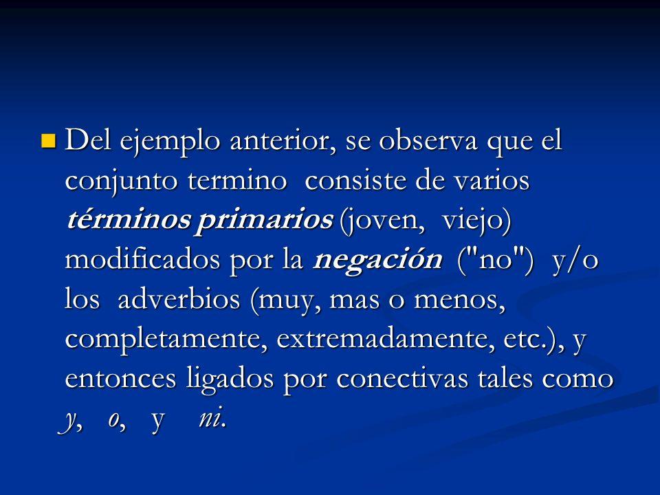 Del ejemplo anterior, se observa que el conjunto termino consiste de varios términos primarios (joven, viejo) modificados por la negación (