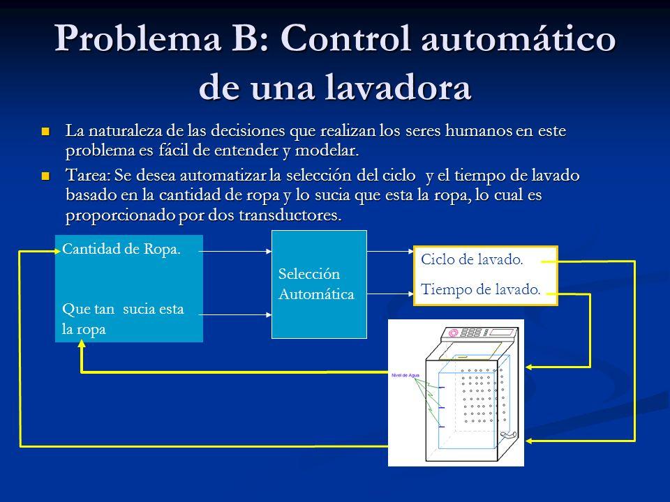 Problema B: Control automático de una lavadora La naturaleza de las decisiones que realizan los seres humanos en este problema es fácil de entender y