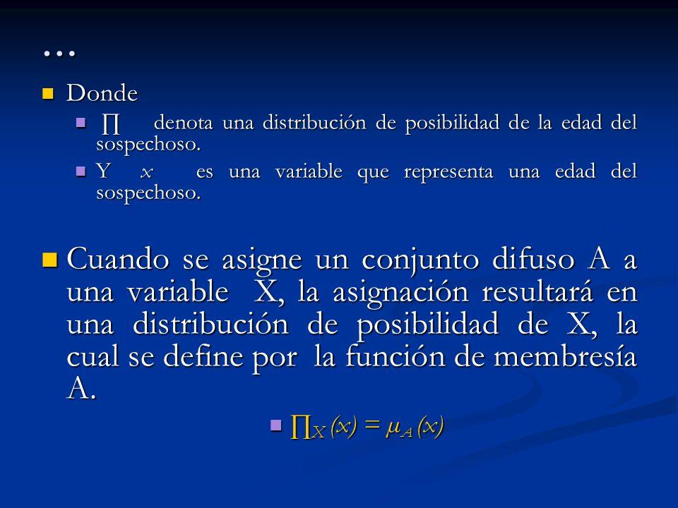 … Donde Donde denota una distribución de posibilidad de la edad del sospechoso. denota una distribución de posibilidad de la edad del sospechoso. Y x