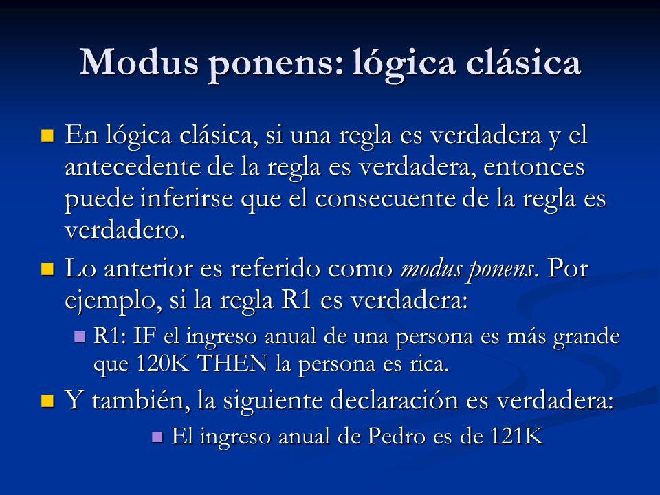 Modus ponens: lógica clásica En lógica clásica, si una regla es verdadera y el antecedente de la regla es verdadera, entonces puede inferirse que el c