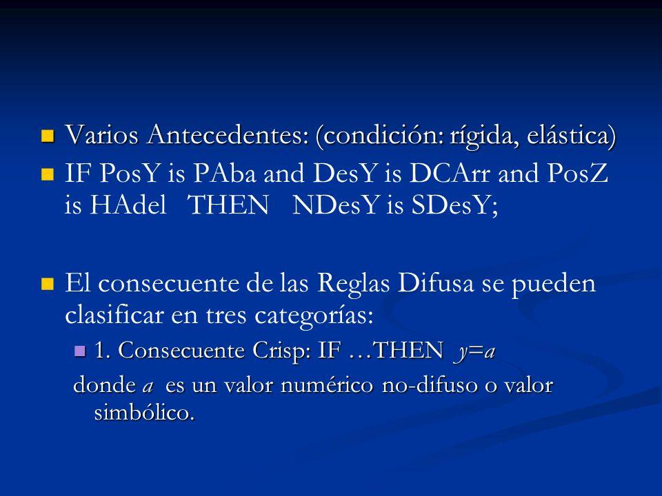 Varios Antecedentes: (condición: rígida, elástica) Varios Antecedentes: (condición: rígida, elástica) IF PosY is PAba and DesY is DCArr and PosZ is HA