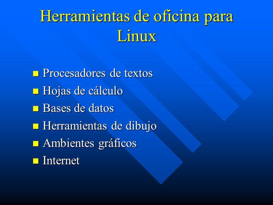 Herramientas de oficina para Linux n Procesadores de textos n Hojas de cálculo n Bases de datos n Herramientas de dibujo n Ambientes gráficos n Intern
