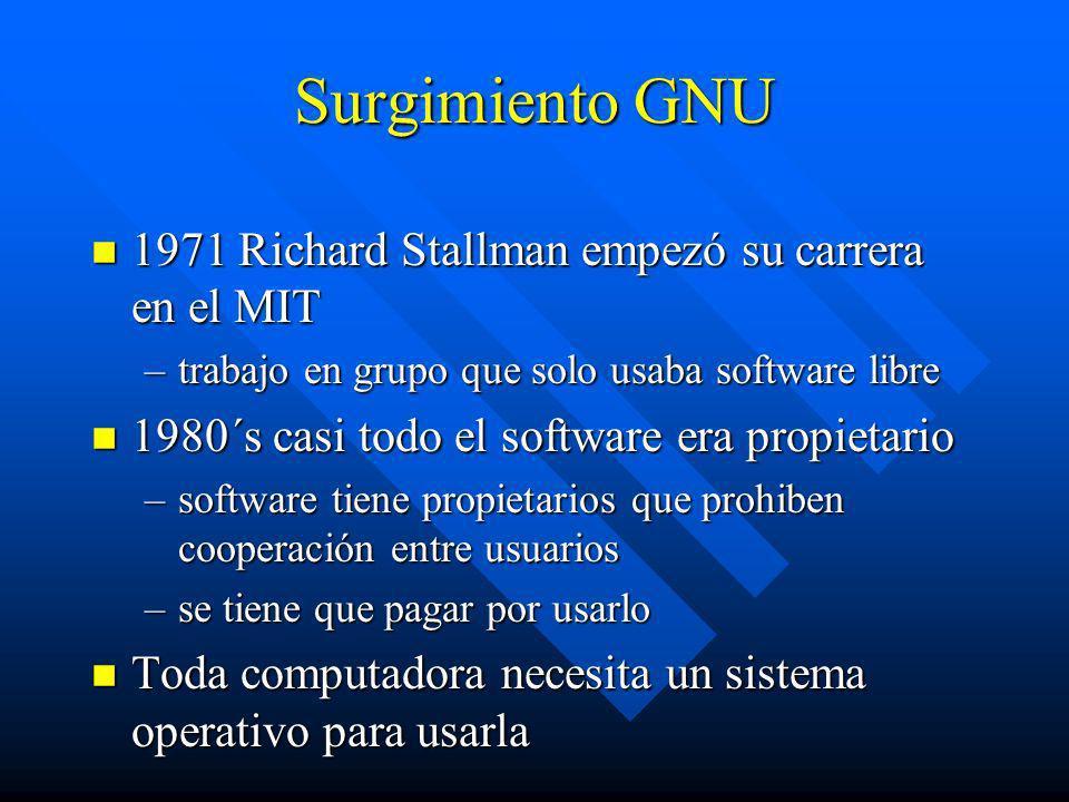 Surgimiento GNU n 1971 Richard Stallman empezó su carrera en el MIT –trabajo en grupo que solo usaba software libre n 1980´s casi todo el software era