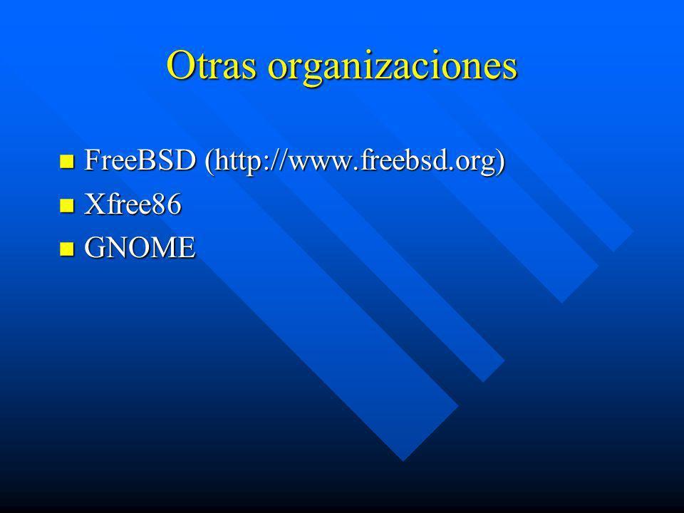 Otras organizaciones n FreeBSD (http://www.freebsd.org) n Xfree86 n GNOME