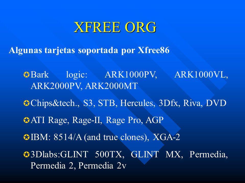 XFREE ORG Bark logic: ARK1000PV, ARK1000VL, ARK2000PV, ARK2000MT Chips&tech., S3, STB, Hercules, 3Dfx, Riva, DVD ATI Rage, Rage-II, Rage Pro, AGP IBM: