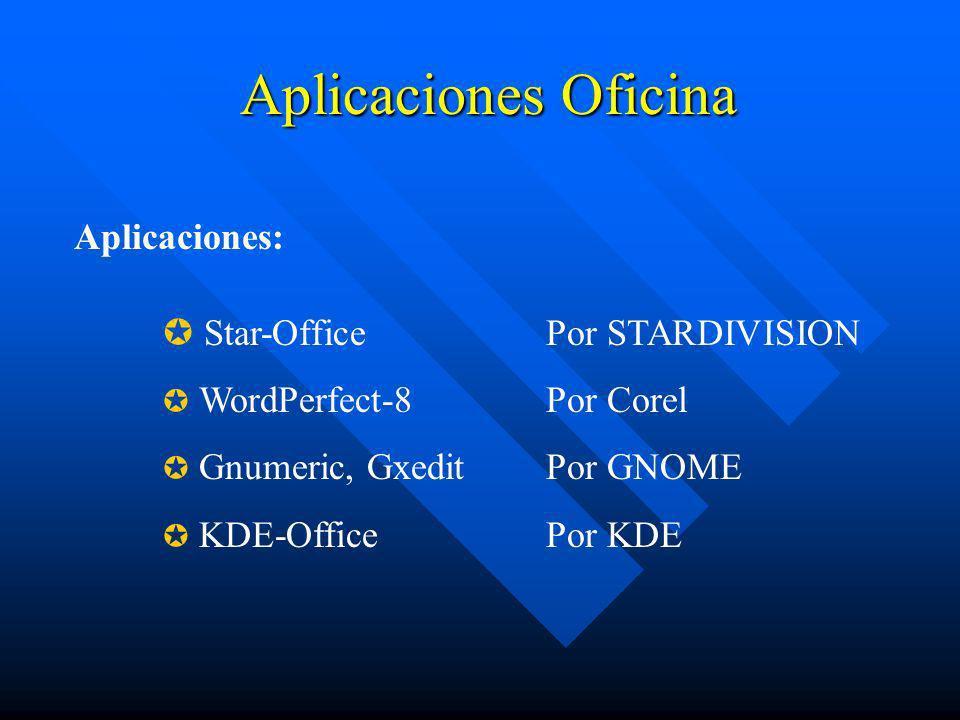 Aplicaciones Oficina Star-OfficePor STARDIVISION WordPerfect-8 Por Corel Gnumeric, Gxedit Por GNOME KDE-OfficePor KDE Aplicaciones: