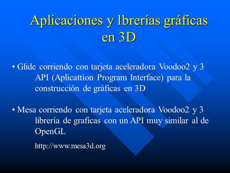 Aplicaciones y lbrerías gráficas en 3D Glide corriendo con tarjeta aceleradora Voodoo2 y 3 API (Aplicattion Program Interface) para la construcción de