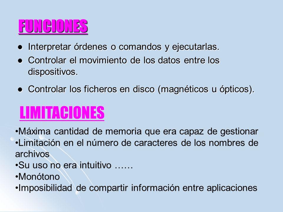 FUNCIONES Interpretar órdenes o comandos y ejecutarlas. Interpretar órdenes o comandos y ejecutarlas. Controlar el movimiento de los datos entre los d