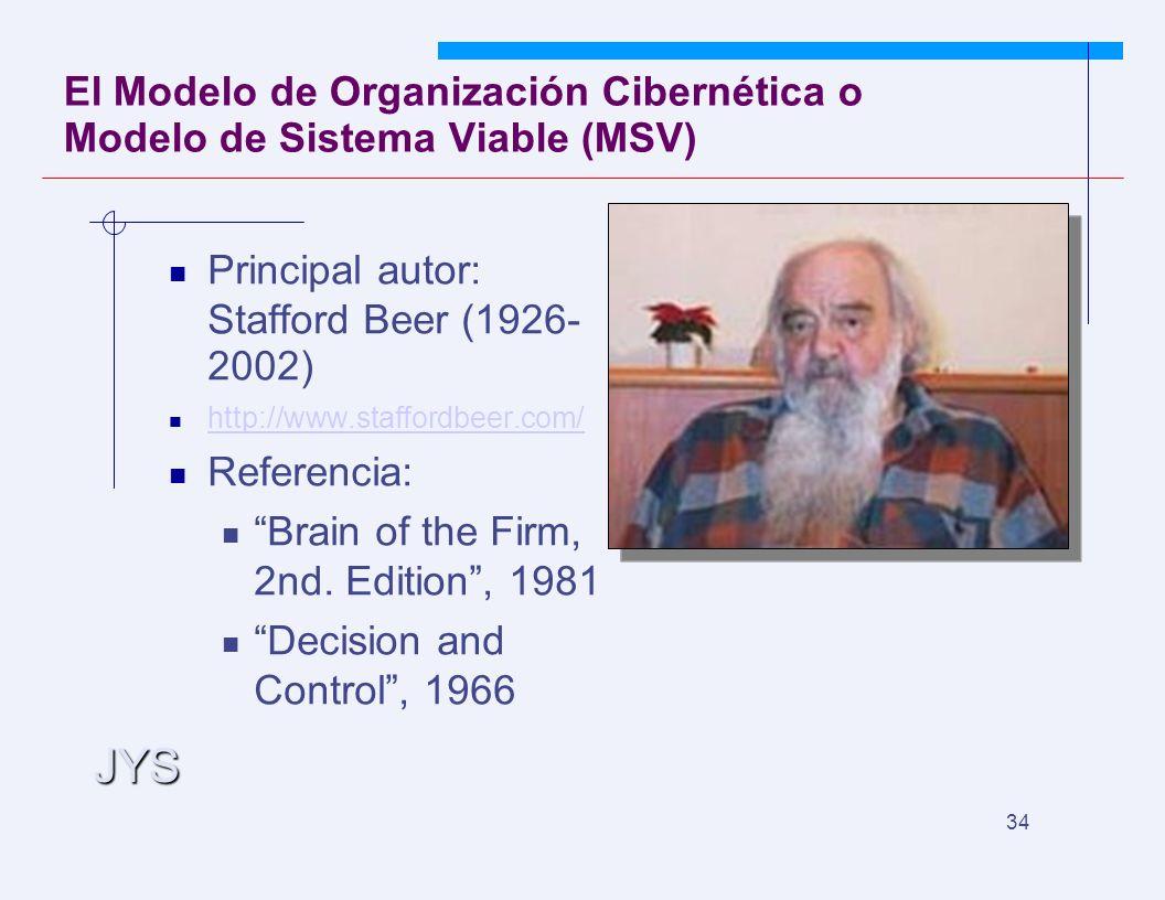 JYS 34 El Modelo de Organización Cibernética o Modelo de Sistema Viable (MSV) Principal autor: Stafford Beer (1926- 2002) http://www.staffordbeer.com/ Referencia: Brain of the Firm, 2nd.