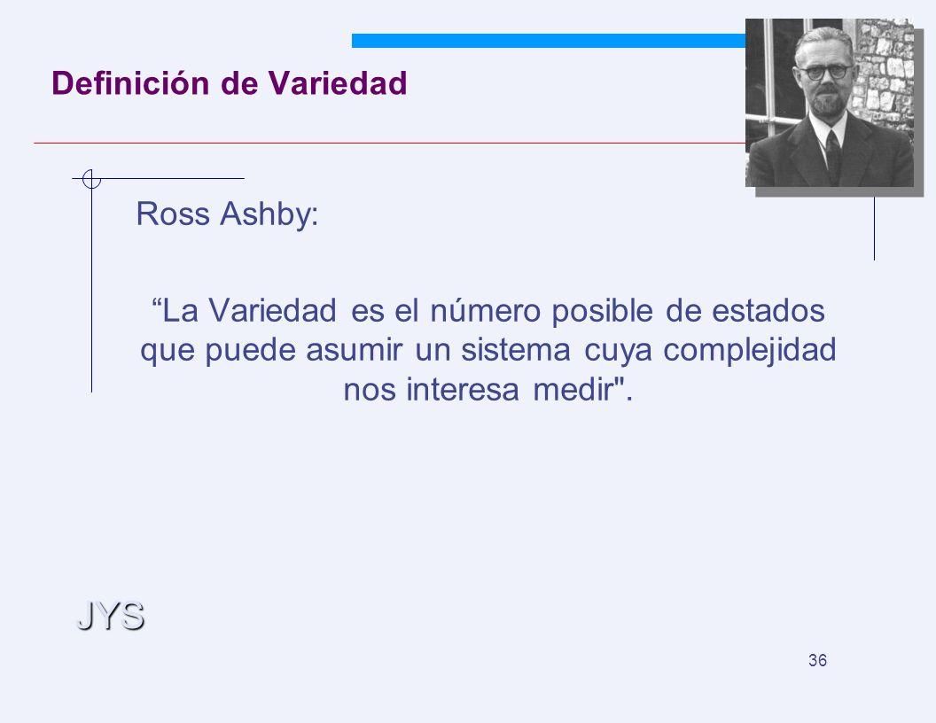 JYS 36 Definición de Variedad Ross Ashby: La Variedad es el número posible de estados que puede asumir un sistema cuya complejidad nos interesa medir .