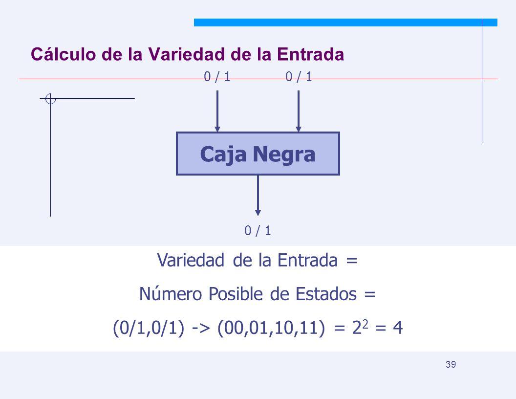 JYS 39 Cálculo de la Variedad de la Entrada Caja Negra 0 / 1 Variedad de la Entrada = Número Posible de Estados = (0/1,0/1) -> (00,01,10,11) = 2 2 = 4