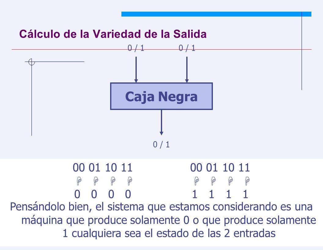 JYS 45 Cálculo de la Variedad de la Salida Caja Negra 0 / 1 00 01 10 11 0 0 0 01 1 1 1 Pensándolo bien, el sistema que estamos considerando es una máquina que produce solamente 0 o que produce solamente 1 cualquiera sea el estado de las 2 entradas