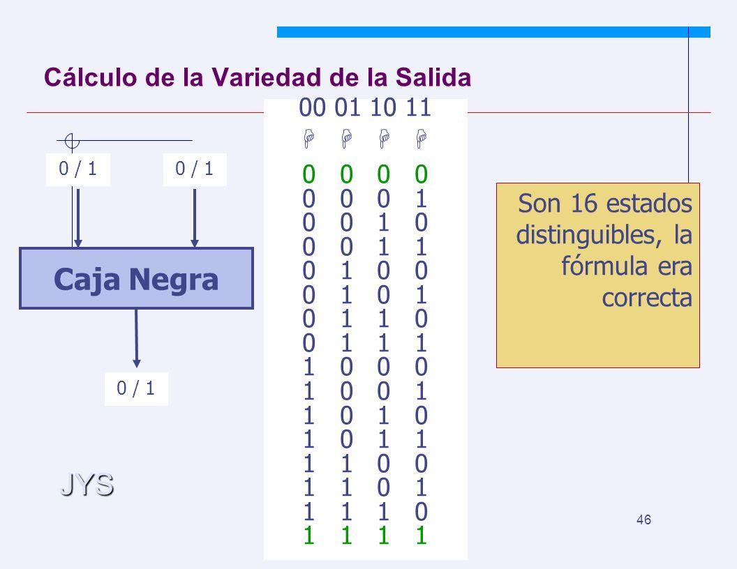 JYS 46 Cálculo de la Variedad de la Salida Caja Negra 0 / 1 00 01 10 11 0 0 0 0 0 1 0 0 1 0 0 0 1 1 0 1 0 0 0 1 0 1 1 0 0 1 1 1 1 0 0 0 1 0 0 1 1 0 1 0 1 1 1 1 0 0 1 1 0 1 1 1 1 0 1 1 Son 16 estados distinguibles, la fórmula era correcta
