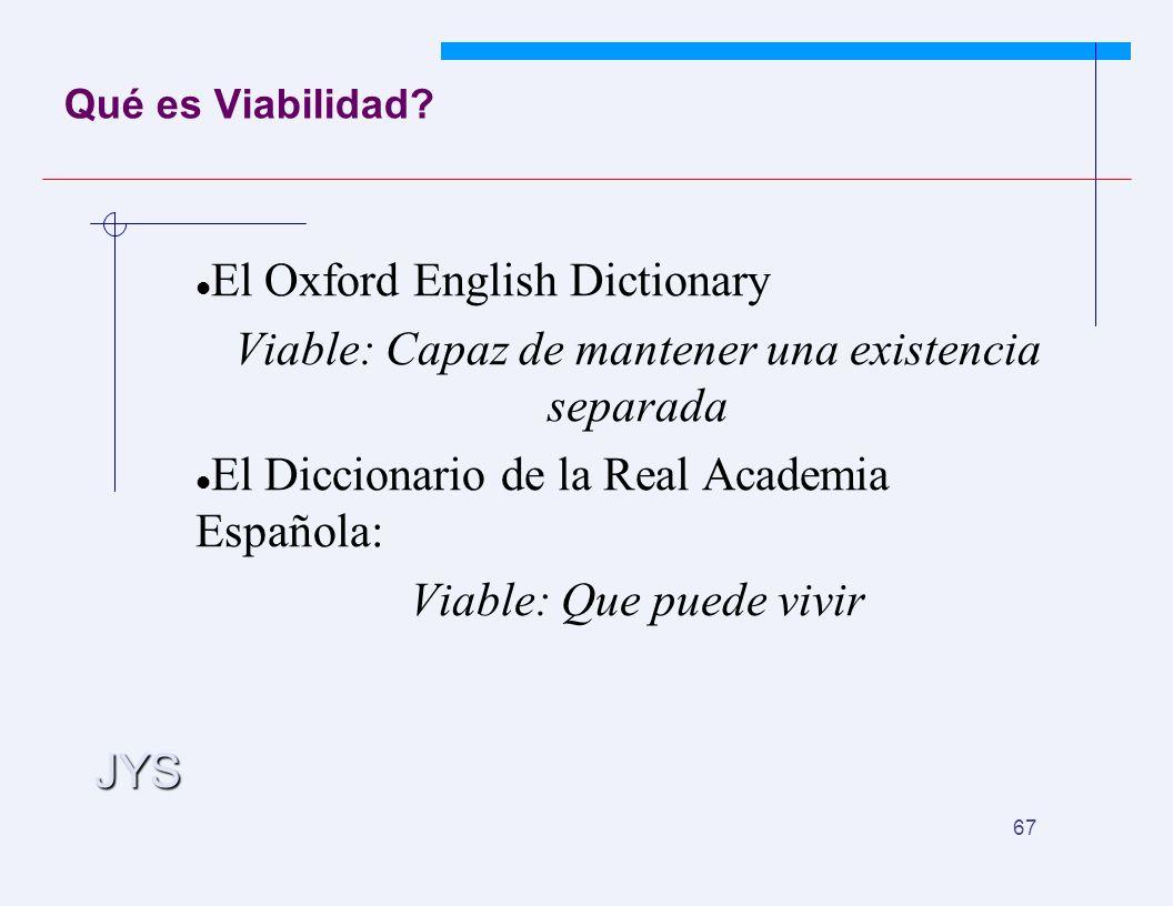 JYS 67 Qué es Viabilidad? El Oxford English Dictionary Viable: Capaz de mantener una existencia separada El Diccionario de la Real Academia Española: